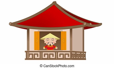Chinese opens the window - Video of a chinese opens the...