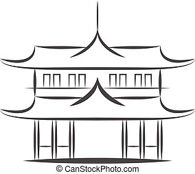 Chinese or japanese Pagoda building vector icon. Flat sign for mobile concept and web design. Asian Temple Architecture glyph icon. Travel symbol, logo illustration. Pixel perfect vector graphics