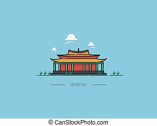 Chinese Pagoda Vector Icon Illustration
