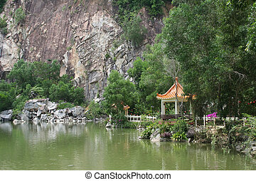 Chinese pagodas, by the lake