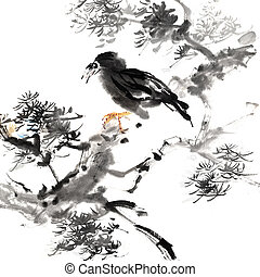 Chinese painting of bird, traditional ink artwork with...