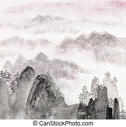 Chinese painting of high mountain landscape - Traditional...