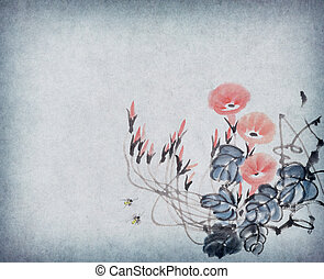 Chinese painting of morning glory on old paper.