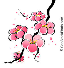chinese painting of pink sakura in a white background