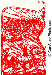Chinese paper-cut of dragon boat race - Chinese traditional...