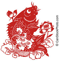chinese paper-cut of fish - chinese tradional paper-cut of...