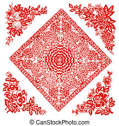 Chinese paper-cut of flower pattern