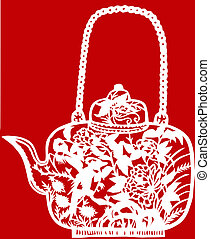 Chinese paper-cut of teapot - Chinese traditional paper-cut...