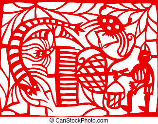 Chinese paper-cut of totem