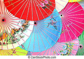 Pile of Chinese parasols from above