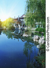 Chinese park in Hangzhou near Xihu Lake, China.