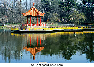 Chinese pavilion in lake - A Chinese pavilion at Lake...
