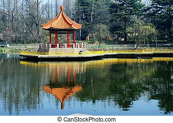 Chinese pavilion in lake - A Chinese pavilion at Lake...