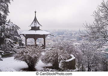 Chinese Pavilion on Schlossberg in town Graz on foggy...