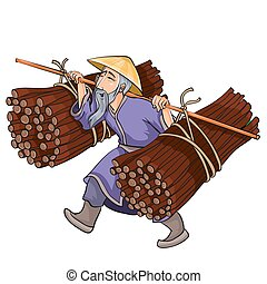 Chinese peasant in a wide hat carries on his shoulders bales of brushwood, cartoon illustration, isolated object on a white background, vector illustration,