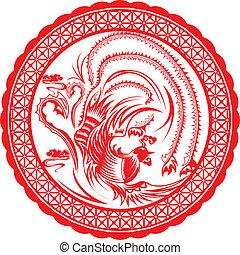 Chinese pheonix. - Chinese pheonix in paper art cutting.
