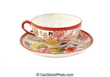 Chinese porcelain tea cup china design isolated on a white background