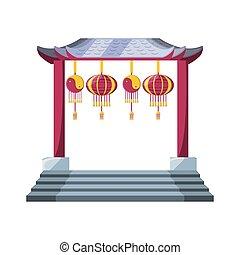 chinese portal with lantern hanging