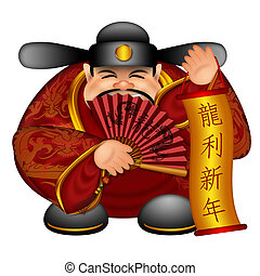 Chinese Prosperity Money God Holding Scroll with Text Wishing Good Luck in Year of Dragon and Fan with Dragon Symbols