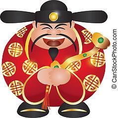 Happy Chinese Lunar New Year Prosperity Money God with Ruyi Scepter Illustration Isolated on White Background