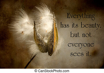 Chinese proverb about beauty in nature, with a pretty milkweed pod with seed blowing in the wind in autumn, grunge textured.