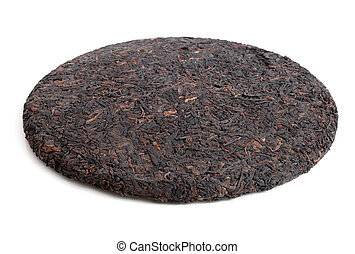Chinese pu-erh tea on a white background