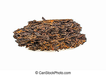 Chinese Puer tea on white background