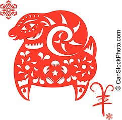 Chinese Red CNY sheep illustration
