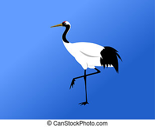 chinese red-crowned crane standing