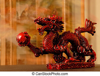 Chinese Red Dragon - Chinese Dragon - Carved red chinese...