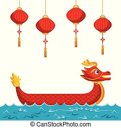 chinese red dragon lanterns traditional culture vector...
