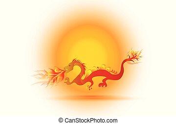 Chinese red dragon logo
