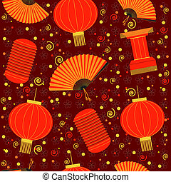 chinese red lanterns seamless pattern. Vector background - ...