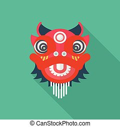 Chinese red lion in flat style