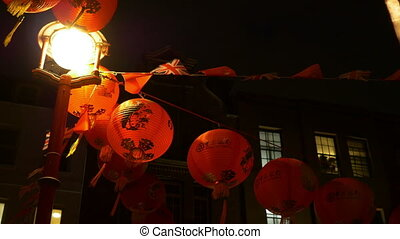 Chinese Red Paper Lanterns - Chinese lanterns hang on the...