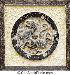 Chinese religious stone carving of tiger