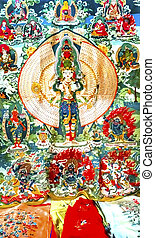 Chinese Replica Buddhist Tanka Decoration Panjuan Flea...