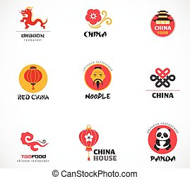 Chinese restaurant and coffee shops icons, menu