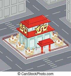Chinese restaurant - Illustration of landscape chinese...