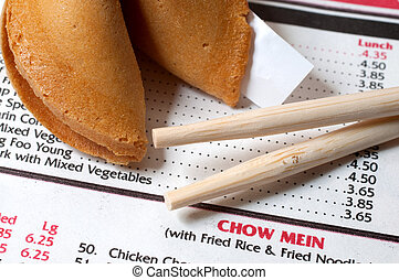 Chinese Restaurant Menu with Chopsticks and Fortune Cookie