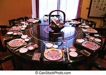 Chinese restaurant - Traditional chinese restaurant, table...