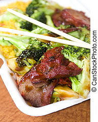 chinese roast pork with broccoli