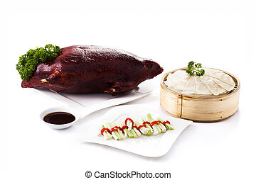 Chinese roasted duck set on white background