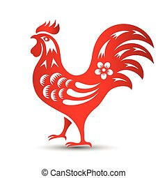 chinese rooster - Red paper cut a rooster zodiac...
