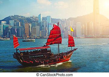 Chinese sailing ship in Hong Kong Victoria Habour