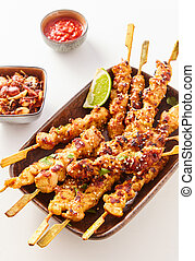 Chinese satay skewers with grilled diced meat