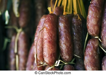 Chinese Sausage - A bunch of chinese sausage in the market.