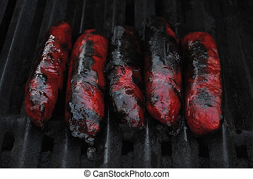 Chinese Sausage Cooking on a Summer Grill
