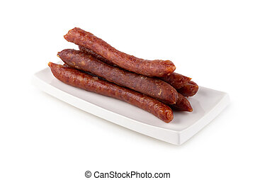 Chinese sausage for cook isolated on a white background.