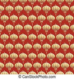 Chinese seamless pattern red lantern lamp gold
